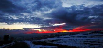 De zonsondergang van de winter Stock Afbeeldingen