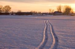 De zonsondergang van de winter bij de boerderij. Royalty-vrije Stock Foto's