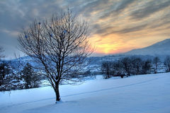 De zonsondergang van de winter van de gebieden Royalty-vrije Stock Foto