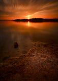 De Zonsondergang van de Winter van het Meer van Benbrook Stock Afbeelding