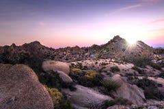 De zonsondergang van de woestijn Stock Foto
