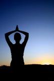De zonsondergang van de yoga Stock Foto
