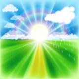 De zonsondergang van de zomer, regen, regenboog en gele weg royalty-vrije illustratie