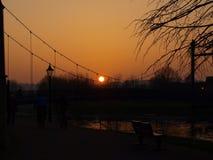 De zonsondergang van Exeter Stock Foto's