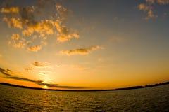 De zonsondergang van Fisheye Stock Afbeeldingen