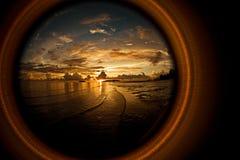 De Zonsondergang van Fisheyed Stock Foto's