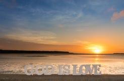 De zonsondergang van God is Liefde Stock Afbeelding
