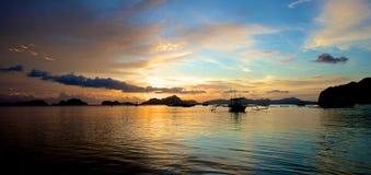 De zonsondergang van Gr Nido Stock Foto