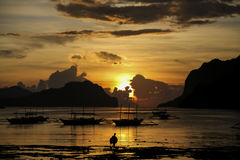 De zonsondergang van Gr Nido Stock Afbeeldingen