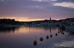 De zonsondergang van Grebbestad Stock Foto