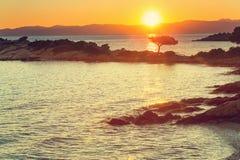 De zonsondergang van Griekenland Stock Afbeelding