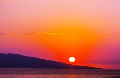 De zonsondergang van Griekenland stock afbeeldingen