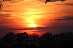 De zonsondergang van groenlo Stock Foto