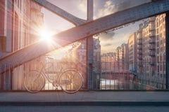 De zonsondergang van Hamburg royalty-vrije stock afbeelding