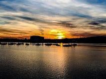 De zonsondergang van havensolent Stock Foto's