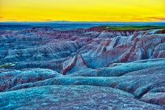 De Zonsondergang van HDR Badlands stock afbeelding