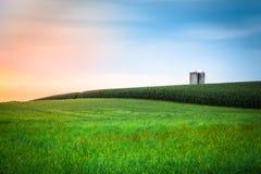 De zonsondergang van het Amishlandbouwbedrijf Stock Afbeelding