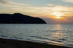 De zonsondergang van het Barattistrand Royalty-vrije Stock Foto's