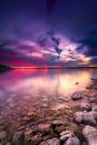 De Zonsondergang van het Benbrookmeer stock afbeeldingen