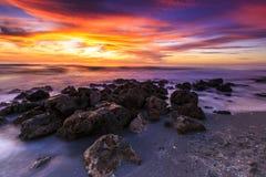 De Zonsondergang van het Caspersonstrand stock afbeeldingen
