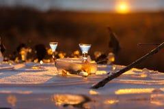 De zonsondergang van het de winterijs. Royalty-vrije Stock Fotografie