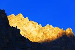 De zonsondergang van het dolomiet stock afbeelding