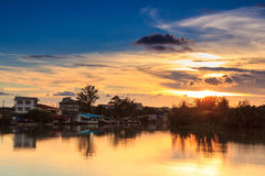 De zonsondergang van het huis Royalty-vrije Stock Afbeelding
