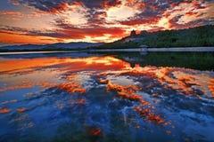 De zonsondergang van het Kunmingsmeer, de Zomerpaleis, Peking Royalty-vrije Stock Afbeeldingen