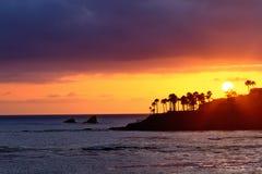 De zonsondergang van het Laguna Beach stock foto's