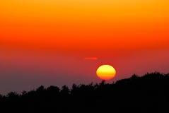 De Zonsondergang van het Land van de heuvel royalty-vrije stock foto's