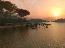 De Zonsondergang van het meer Stock Illustratie