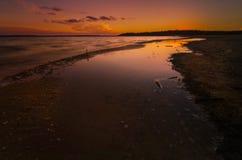 De Zonsondergang van het Meer van de winter Stock Foto