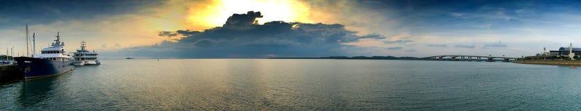 De Zonsondergang van het panorama Stock Foto's