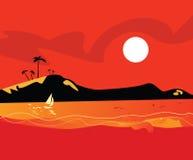 De zonsondergang van het strand stock illustratie