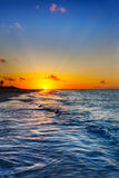 De zonsondergang van het Strand van de Baai van de gunst Stock Afbeeldingen