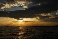De Zonsondergang van Izmir Stock Foto's