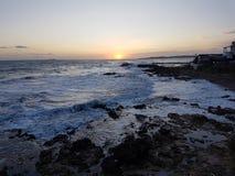 De zonsondergang van Korfu Stock Afbeeldingen