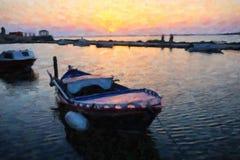 De Zonsondergang van Lefkada, de Foto van de Olieverfschilderijstijl Royalty-vrije Stock Afbeeldingen