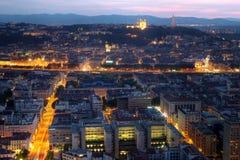 De zonsondergang van Lyon, Frankrijk stock afbeeldingen