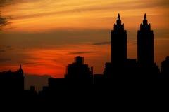 De Zonsondergang van Manhattan Stock Afbeeldingen