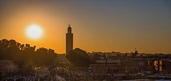 De zonsondergang van Marrakech royalty-vrije stock afbeelding