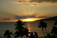 De Zonsondergang van Maui Stock Foto