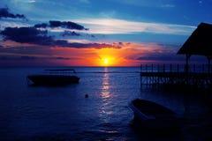 De zonsondergang van Mauritius Stock Afbeeldingen