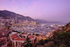 De zonsondergang van Monaco Stock Afbeeldingen