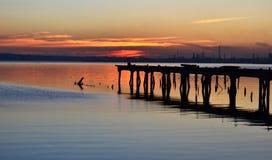 De zonsondergang van Montevideo stock afbeeldingen