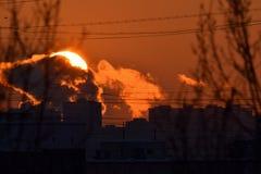 De zonsondergang van Moskou royalty-vrije stock afbeelding