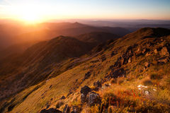 De Zonsondergang van MT Buller Stock Afbeeldingen