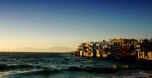 De Zonsondergang van Mykonos Stock Foto's