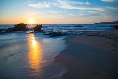 De Zonsondergang van New Port Beach Stock Fotografie