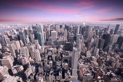 De zonsondergang van New York Manhattan Stock Afbeeldingen